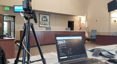 Computer live stream setup at Council Chambers